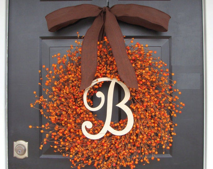 Fall Berry Wreath- Thanksgiving Wreath- Berry Fall Wreath with Burlap- Hostess Gift - Thanksgiving Wreath XXL 18-24 Very full