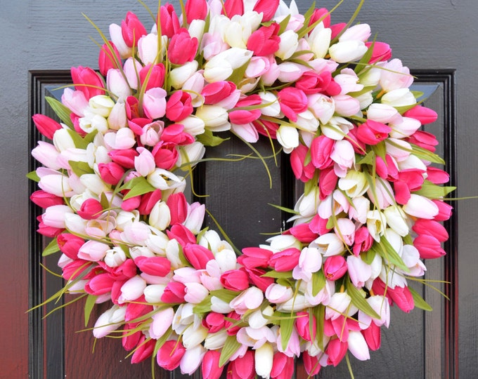 Pink Tulip Wreath- Spring Wreath- Mother's Day Wreath- Gift for Mom- Mother's Day Gift- Shabby Chic Decor- Wreath Hanger- Front Door Wreath