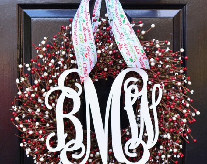 Winter Wreaths- Front Door Wreath- Red Green White Wreath- Christmas Decor- Christmas Wreath- Winter Decoration- Home Decor Wreath