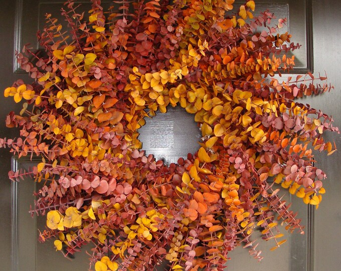 Fall Colors Fall Wreath, Eucalyptus Wreaths, Fall Decor,  Preserved Eucalyptus Wall Decor