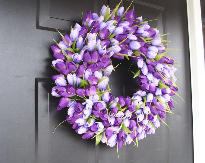 Lavender Spring Wreath- Wreath for Spring- Mother's Day Wreath- Spring Decor- Lavender Wreath- Easter Wreath