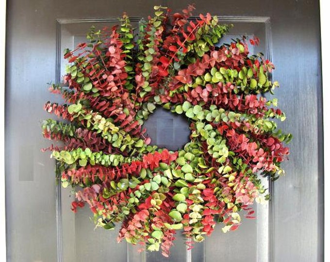 Red Green Eucalyptus Christmas Wreath, Eucalyptus Holiday Gift, Front Door Decor  16- 24 inch