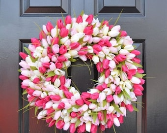 SUMMER WREATH SALE Tulips Spring Wreath- Spring Decor-Spring Tulips Wreath, Custom Colors and Sizes- Summer Wreath- The Original Tulip Wreat