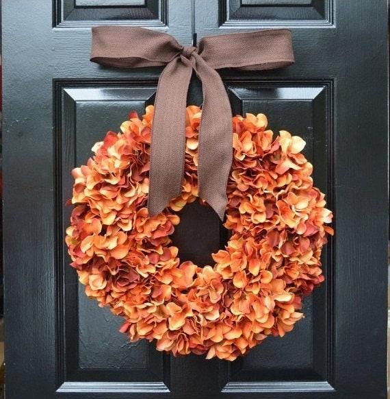 Orange Hydrangea Pumpkin Wreath Hydrangea Fall Wreath, Fall Decor, Orange Pumpkin Spice Fall Wreath