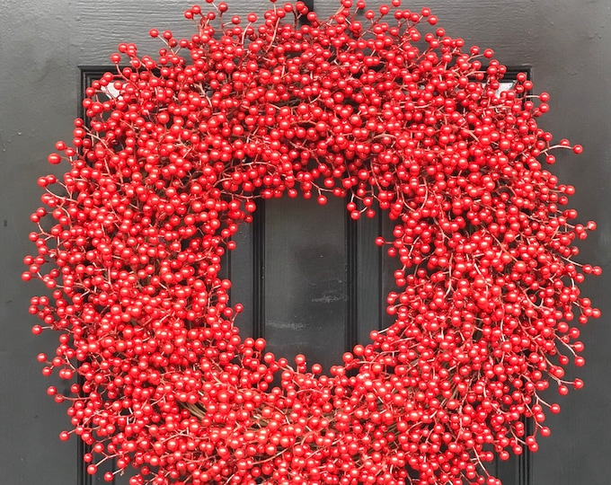 Weatherproof Berry 24 inch Shown Red Christmas Wreath Front Door Holiday Wreath- WEATHERPROOF, Designer Ribbon 14-28 inch sizes available