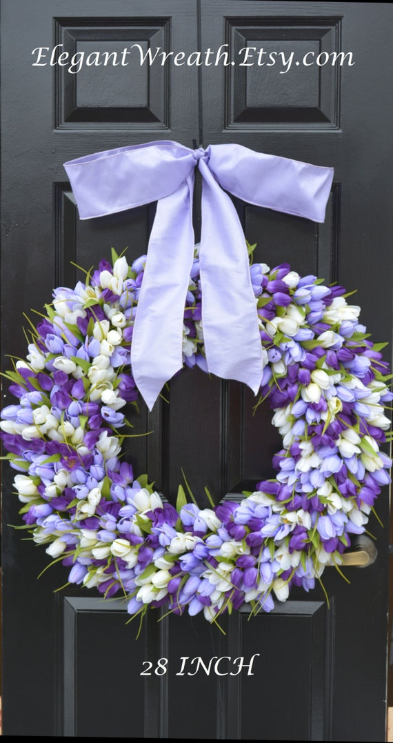 Mini Tulip Spring Wreath- 28 inch Tulip Wreath- Spring Wreath for Door
