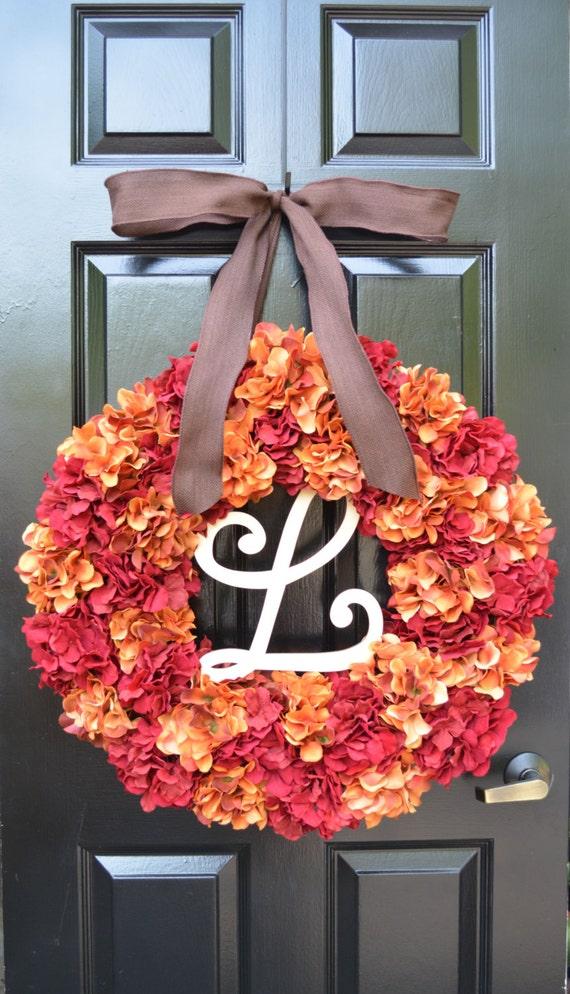 Custom Fall Wedding Wreath, Monogram Hydrangea Wreath, Fall Monogram Wreath, Orange Hydrangea Wreath, Fall Decor Halloween Decor