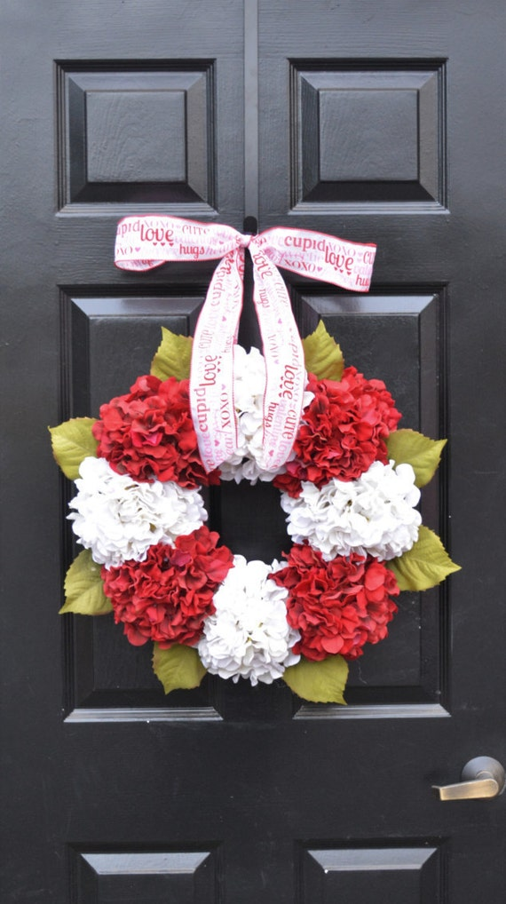 QUICK Ship- Valentine's Hydrangea Wreath- Hydrangea Wreaths - Spring Wreaths- Year Round Wreaths- Flower Wreaths- Christmas Wreath