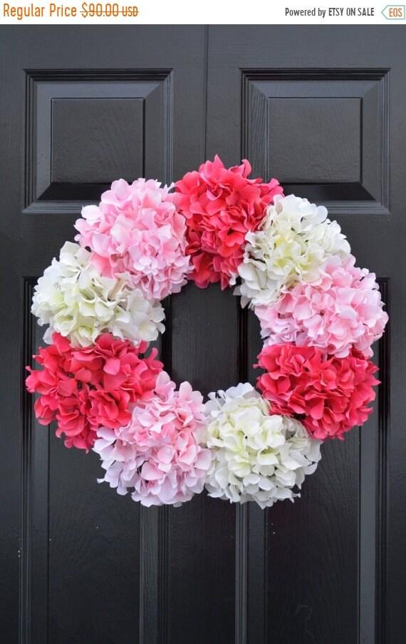 SUMMER WREATH SALE Hydrangea Wreath- Spring Wreath- Spring Decor- Wedding Wreath- Ready To Ship 19 Inch