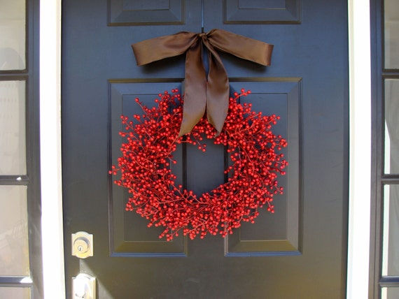 Fall Berry Wreath- Fall Decor- Fall Wreath- Red Berry Waterproof WEATHERPROOF Artficial Berry Wreath for Fall