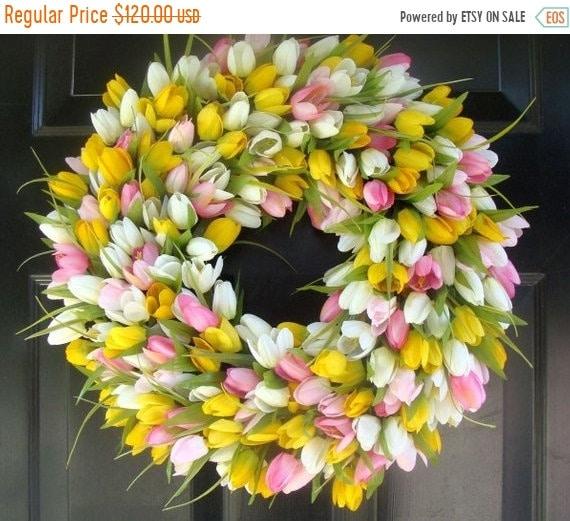 SUMMER WREATH SALE 22 inch Tulip Wreath- Spring Wreath- Girls Room Decor- Mantle Decor- Wall Decor- Wedding Wreath