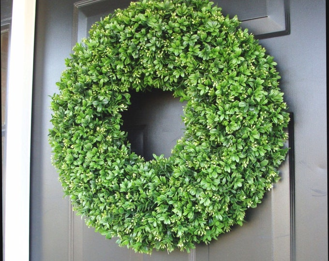 Year Round Wreath, Front Door Decor, Faux Boxwood Wreath, Outdoor Boxwood, Spring Wreath, Summer Wreath, Home Decor, Dining Room Wall Decor