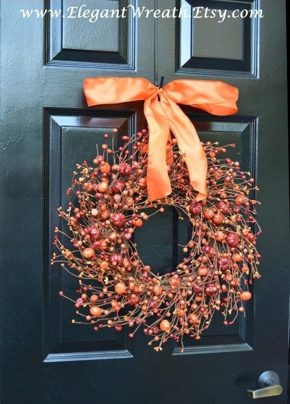 New Berry Fall Wreath Thanksgiving Decor Pumpkin Fall Wreaths Fall Monogram Wreath, Hostess Gift - Pumpkin, Xxl 19-22 inch