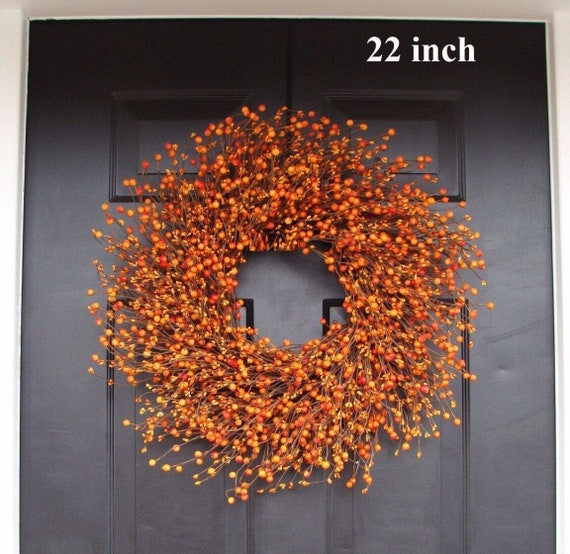 BESTSELLER Pumpkin Pie Fall Wreath, Thanksgiving Wreath Berry Wreath, Thanksgiving Decor XL 16 - 26 INCH Sizes Available