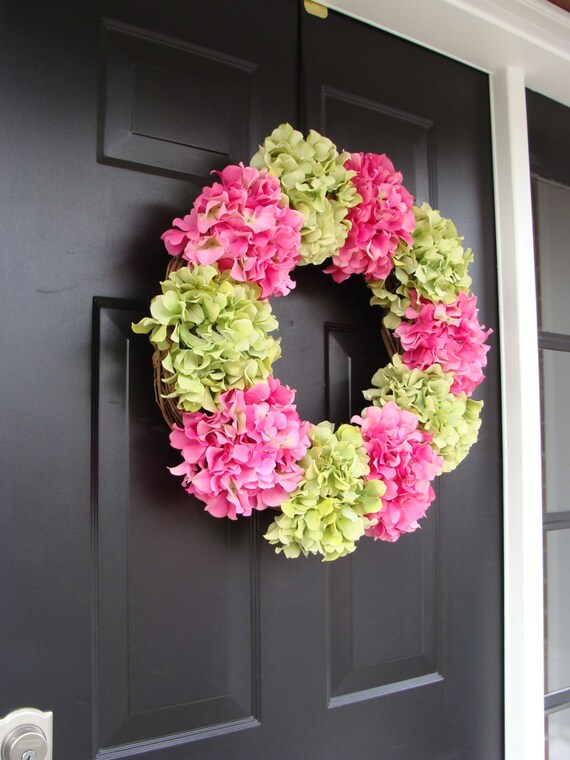 Hydrangea Spring Wreath- Summer Wreaths- Spring Hydrangeas- Custom Hydrangea Wreath- Door Wreath