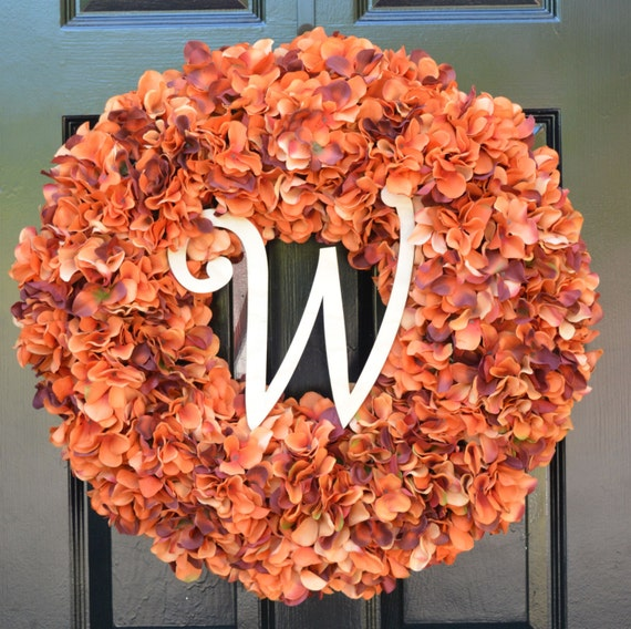 Fall Wreath Monogram Orange Hydrangea Wreath Fall Monogram Wreath, Orange Hydrangea Wreath, Autumn Decor Thanksgiving Decor Fall Decor