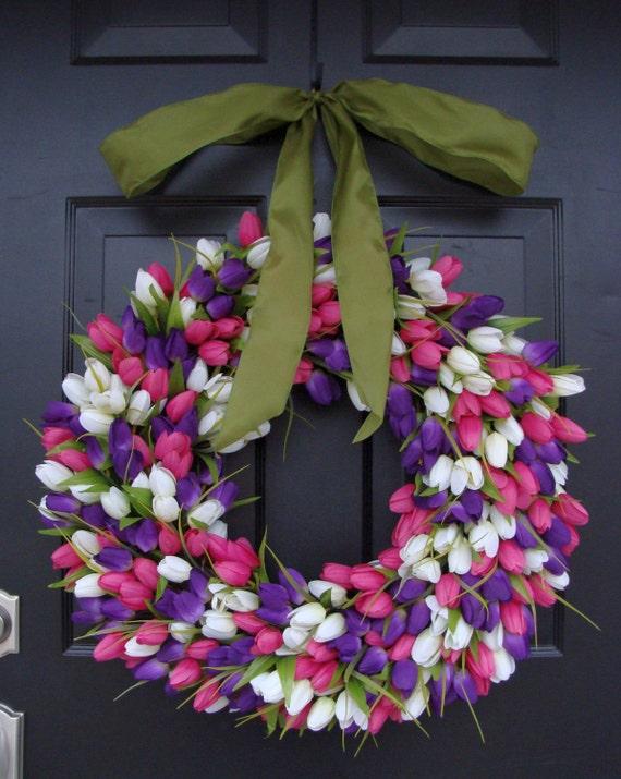Original Tulip Spring Wreath with Ribbon, Spring Wreath, Door Wreath, Spring Decor,  24 inch Easter Wreath, Spring Decoration
