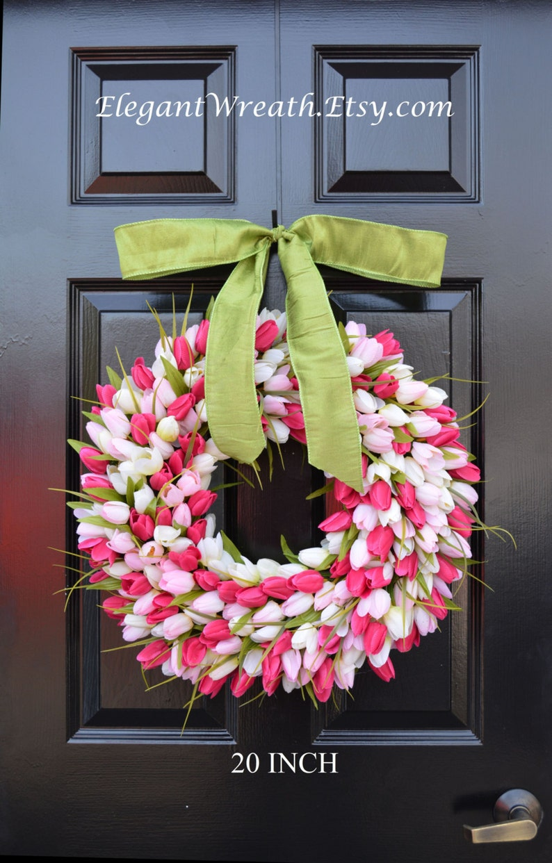 Tulips Spring Wreath Spring Decor Gift for Her Mothers Day image 0