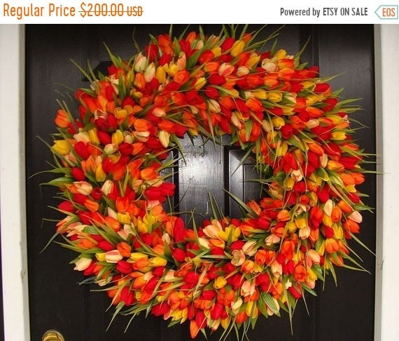 SUMMER WREATH SALE Mini Tulip Spring Wreath- 28 inch Tulip Wreath- Spring Wreath for Door