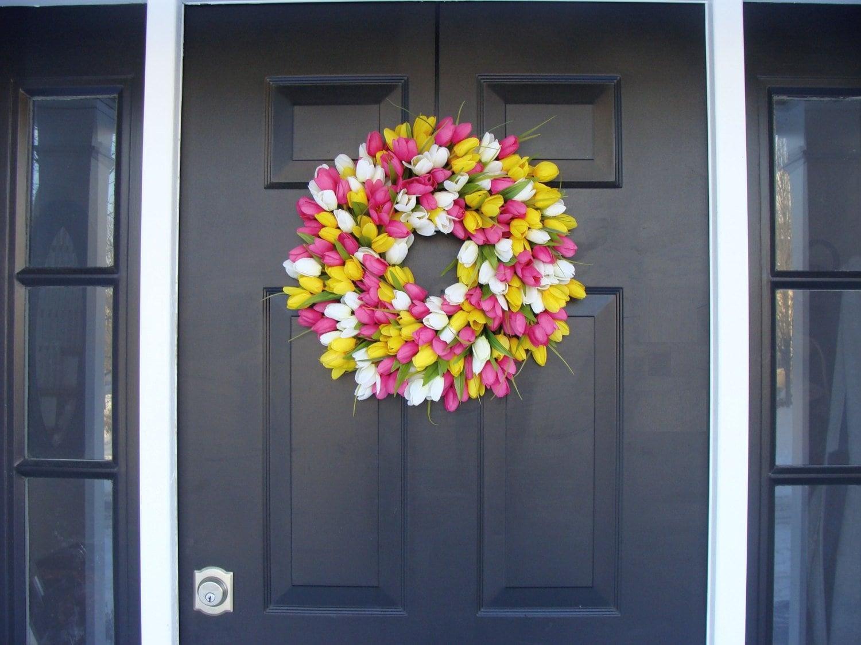 Silk Thin Spring Tulip Wreath Storm Door Wreaths Front Door