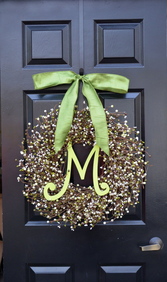 Berry St. Patrick's Day Wreath, St. Patrick's Day Decor, Green Berry Wreath, Monogram Door Wreath, Shamrock Wreath