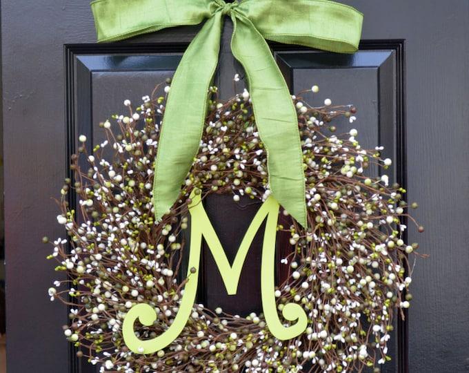 Berry St. Patrick's Day Wreath, St. Patrick's Day Decor, Green Berry Wreath, Monogram Door Wreath, Shamrock Wreath