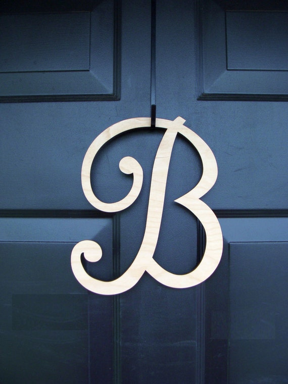 PAINTED Wood Letter- Monogram Letter Initial- Door Wreath Accessory- IN STOCK 10 inch letter, purchase only with wreath for free shipping
