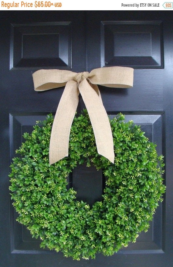 SUMMER WREATH SALE Spring Boxwood Wreath- Year Round Wreath Decor- Etsy Wreath- Artificial Boxwood Wreath- Burlap Ribbon- Christmas Wreath-