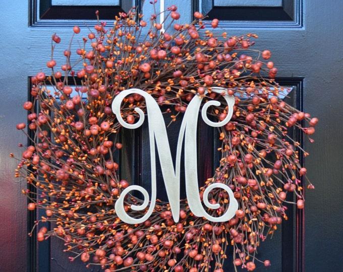 Mini Pumpkin Fall Wreath- Pumpkin Berry Wreath- Front Door Wreath Orange Pumpkin Fall Wreath- Autumn Decoration- Orange Berries Monogram