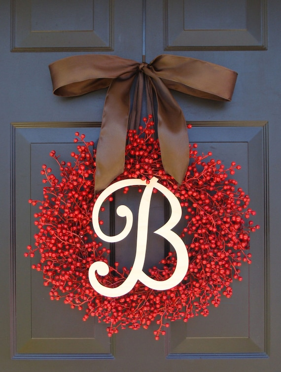 Valentine's Day Wreath- Berry Wreaths- Monogram Red Christmas Wreath- Valentine's Day Wreath- Valentine's Decor- Monogram Wreath