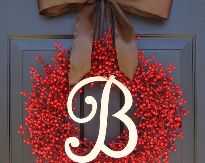Weatherproof FALL Wreath- Berry Wreaths- Monogram Red Christmas Wreath- Valentine's Day Wreath- Valentine's Decor- Monogram Wreath