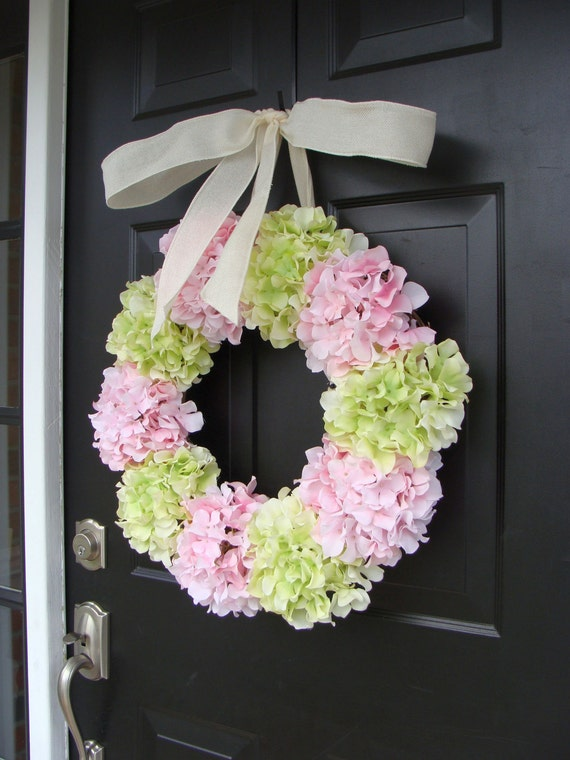 Spring Wreath, Hydrangea Wreath, Front Door Spring Wreath- 21 Inch Hydrangea Wreath- Spring Wreath for Door