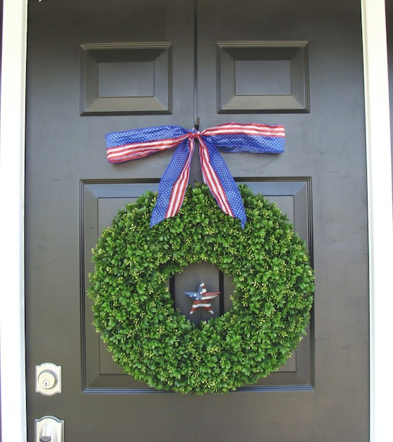 Memorial Day Wreath- Fourth of July Wreath- Summer Wreath American Flag Ribbon- Americana Rustic Star Wreath- Summer Wreath- Boxwood Wreath