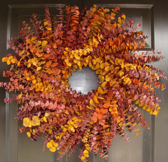 Thanksgiving Wreath- Fall Decor- Dried Floral Fall Wreath- Preserved Eucalyptus Wreath- Thanksgiving Decoration- Holiday Decor
