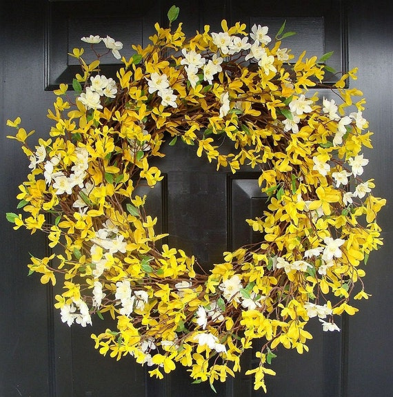 Cherry Blossom and Forsythia Wreath- Yellow Wreath- Spring Decor- Summer Wreath