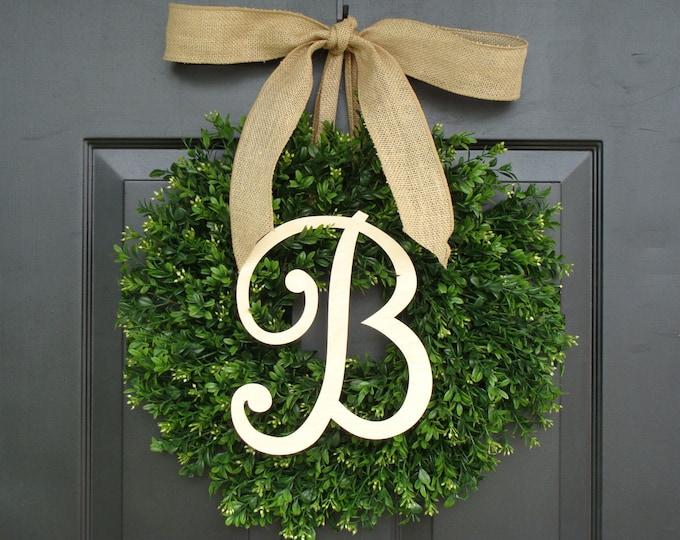 Monogram Boxwood Wreath, Fall Monogram Wreath with Burlap Bow, Housewarming Gift, Wedding Wreath 16- 24 INCH Available