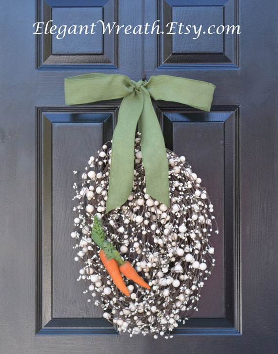 Easter Egg Wreath- Easter Wreath with Carrots- Easter Decoration- Easter Decor- Monogram Wreath- Spring Wreath