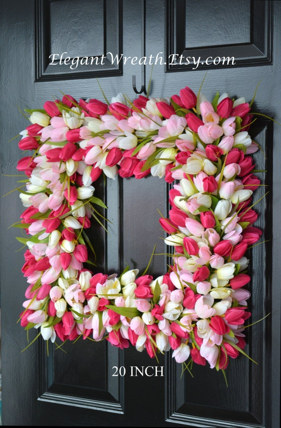 Pink Tulip Spring Wreath- THIN Storm Door Wreath Spring Decor Square Wreath- Tulip Wreath- 20 inch shown- The Original Tulip Wreath