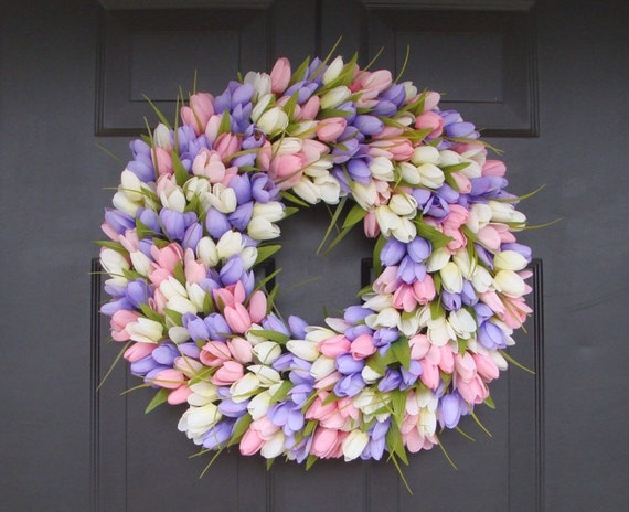 Spring Wreath- Wedding Wreath- Original Tulip Wreath- Spring Decor- Spring Decoration