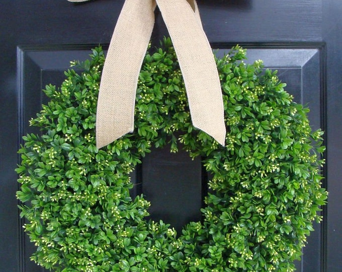 Faux Boxwood Wreath- Artificial Boxwood Wreaths for Door- Year Round Wreath Burlap Bow- Wedding Decor Boxwood Door