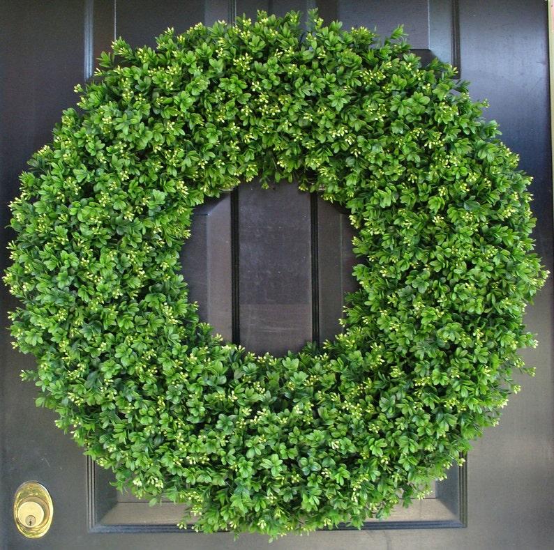 28 Inch XXL Artificial Boxwood Wreath Oversized Wreath image 0