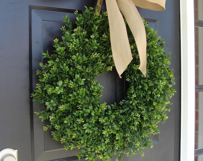 Farmhouse Wreath- Spring Wreath- THIN Boxwood Wreath- Fall Door Wreath- Artificial Boxwood- Year Round Wreath Greenery-Wedding Decor- Floral