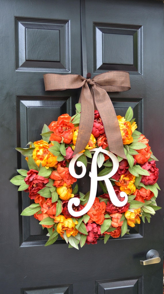 Fall Colors Peony Wreath, Fall Wreath, Monogram Wreath for Front Door, Autumn Fall Decor, 23 inch Fall Wedding Wreath