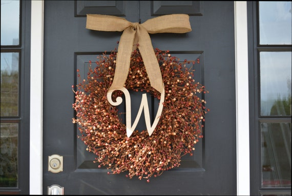 Fall Berry Wreath- Thanksgiving Decor- Berry Fall Wreath with Burlap Ribbon- Hostess Gift - Pumpkin, XXL 18-22 inch Thanksgiving