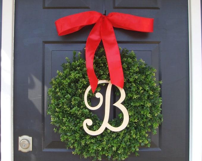 Monogram Boxwood Christmas Wreath-  Personalized Holiday Wreath with Burlap Bow, Housewarming Gift, Wedding Wreath 20 INCH Shown