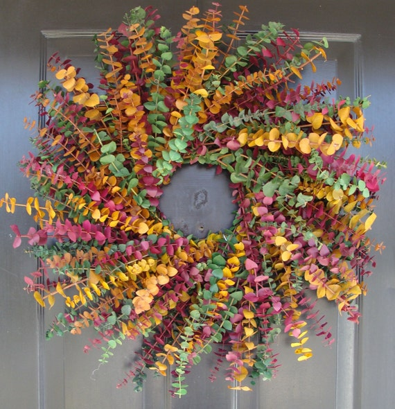 Eucalyptus Wreath- Spring Wreath- Dried Floral Wreath- Wall Decoration- Natural Home Decor