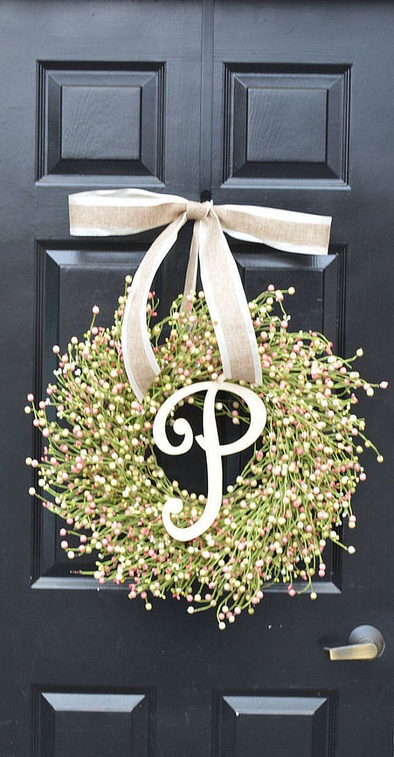 Spring Berry Wreath, Spring Decor, Spring Wreath, Pastel Easter Wreath, Easter Decor, Year Round Wreath, Pink, Green, Cream Berry Wreath