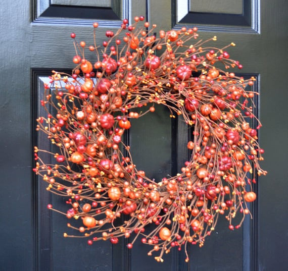 Pumpkin Berry Fall Wreath Thanksgiving Decor Monogram Fall Wreaths, Hostess Gift - Pumpkin, XXL 19-22 inch Thanksgiving