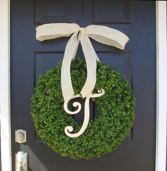 Monogram Letter Boxwood Wreath Front Door Monogram Wreath  Wedding Wreath Wedding Gift Wedding Decor Outdoor Wreath