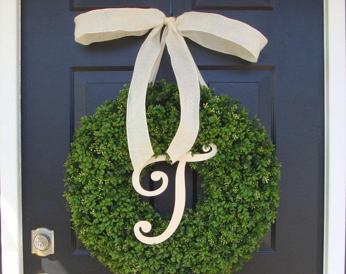 Monogram Letter Boxwood Wreath Front Door Monogram Wreath  Wedding Wreath Wedding Gift Wedding Decor Outdoor Wreath